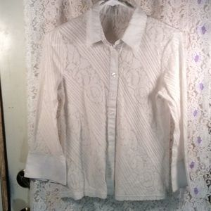 White Lacey button up top